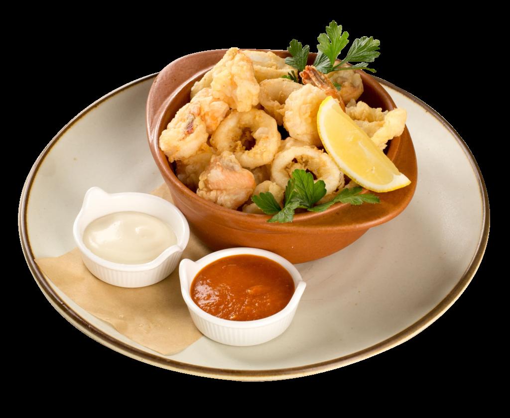 Crispy golden seafood