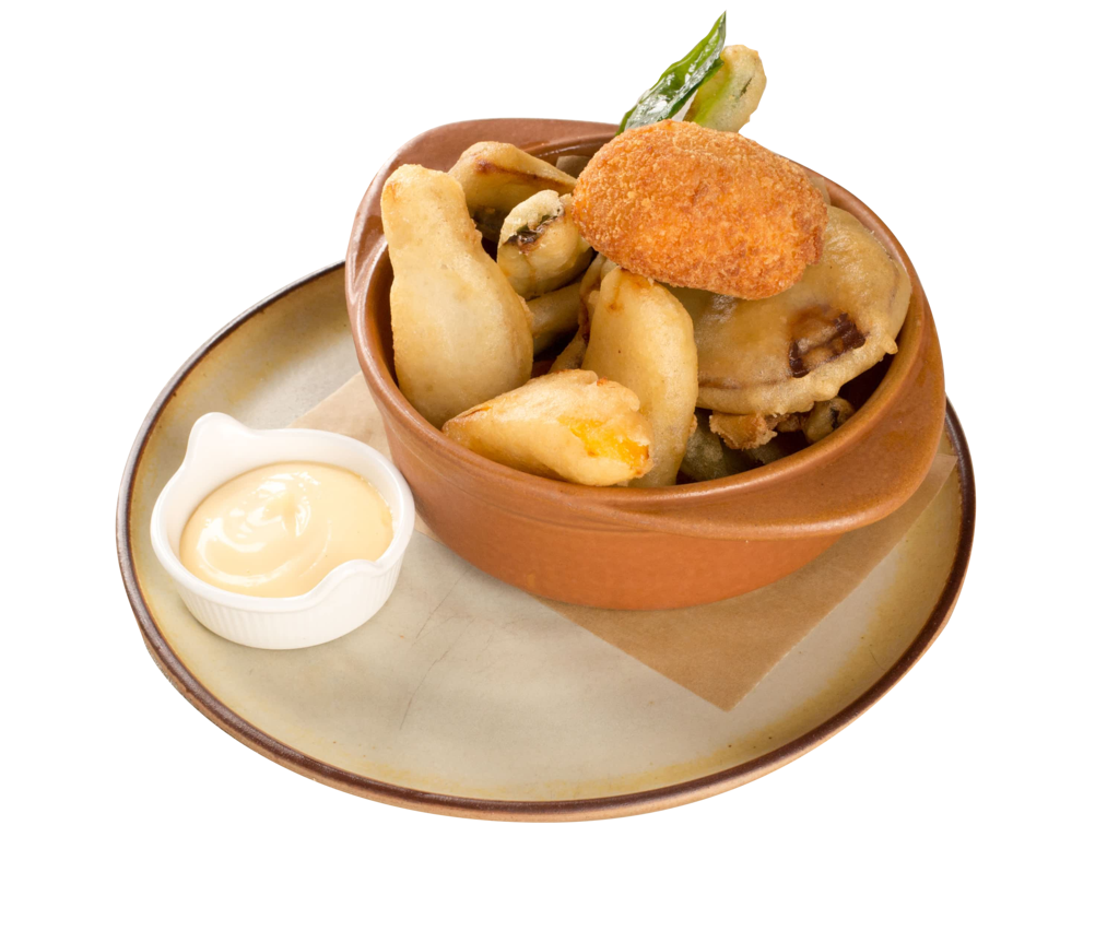beer battered Seasonal vegetables